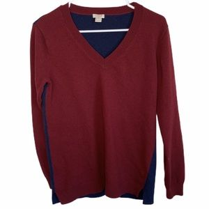 J. Crew red and navy lightweight v neck sweater